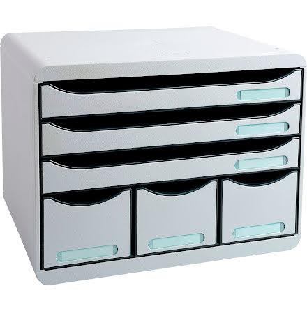 Box Exacompta 6lådor grå