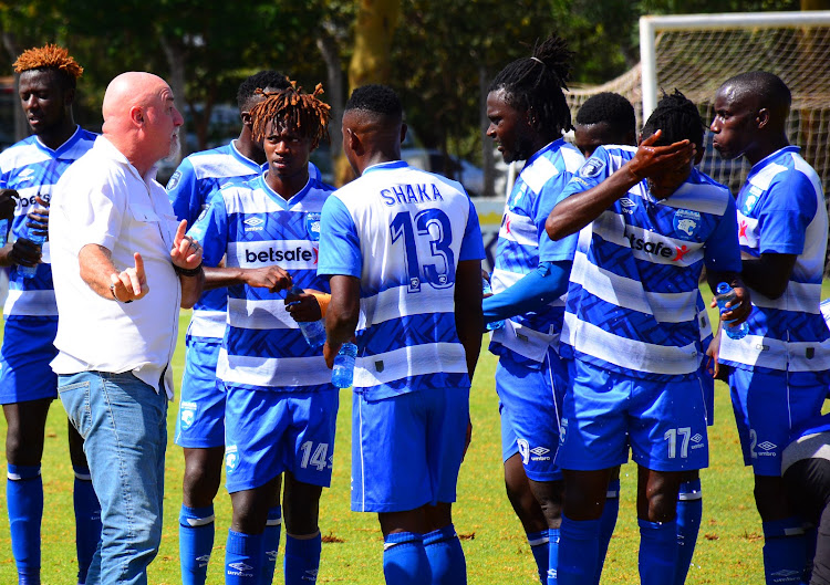AFC Leopards coach Patrick Aussems instructs his charges during a recent Premier League match against City sStars at Moi Stadium, Kasarani.JPG