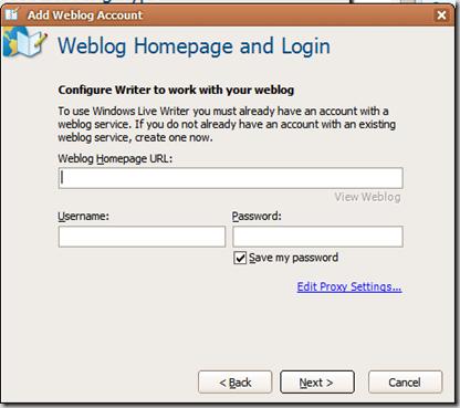 Weblog Homepage Login