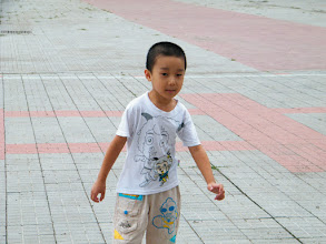 Photo: baby son, warrenzh, 朱楚甲, in his mom, emakingir's school's sportsyard.