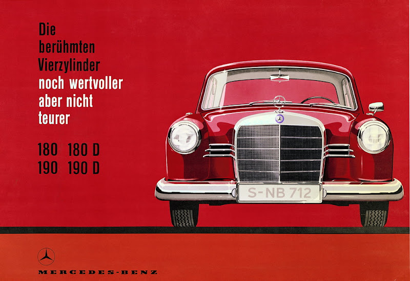 """Photo: In 1959 the spotlight was on the Mercedes-Benz 180, 180 D, 190 and 190 D models (""""even more valuable, but no more expensive"""") (Atelier Harry Preußner)."""