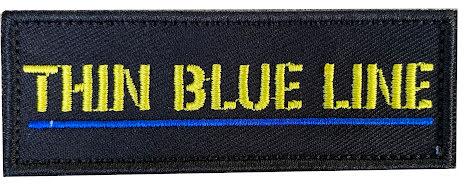 Tygmärke Thin Blue line med gul text