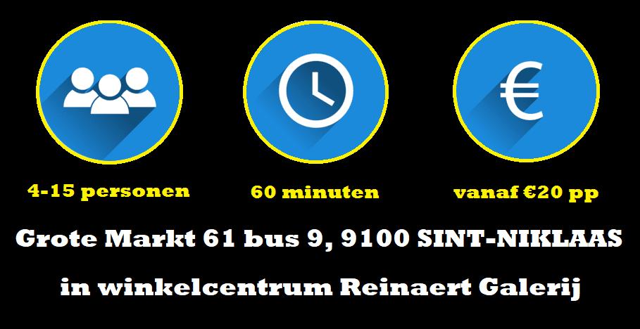 Adres van Escape Room Vlaanderen Sint-Niklaas is Grote Markt 61 bus 9 in 9100 Sint-Niklaas