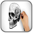 How to Draw a Skeleton Head icon