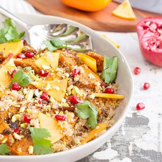 Quinoa Pilaf with Za'atar Roasted Butternut Pumpkin & Persimmon