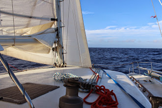 Photo: Reefed main and full genoa works well for heading into strong headwind up to about 25 knots