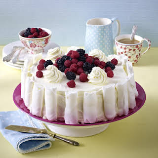 Meringue Ice Cream Cake with Berries.