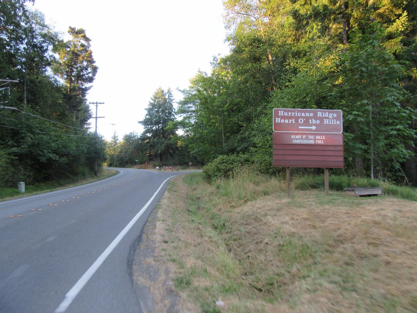 Road sign directing to Hurricane Ridge