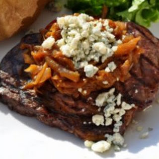 Grilled Buffalo Ribeye Steak with Smoky Onions & Roquefort.