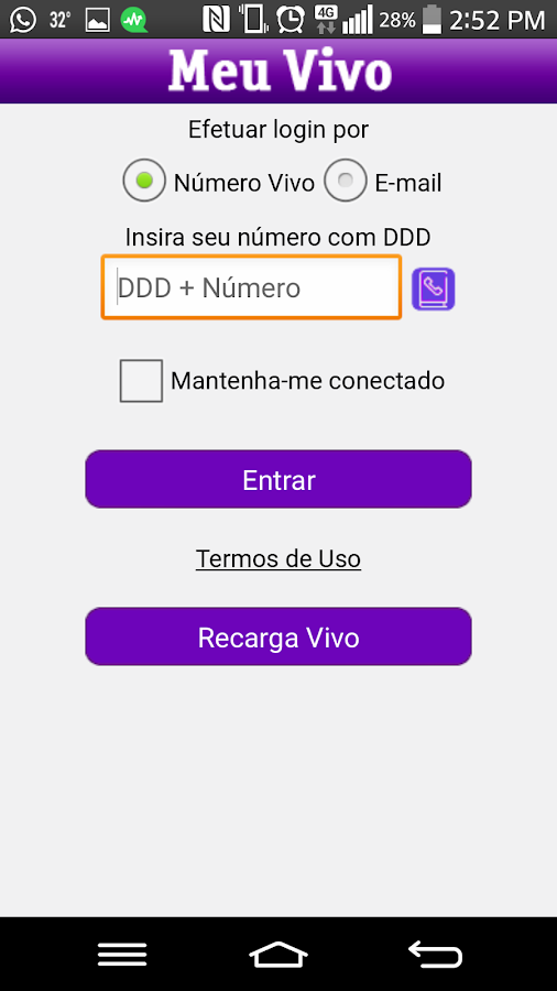 Meu Vivo App- screenshot