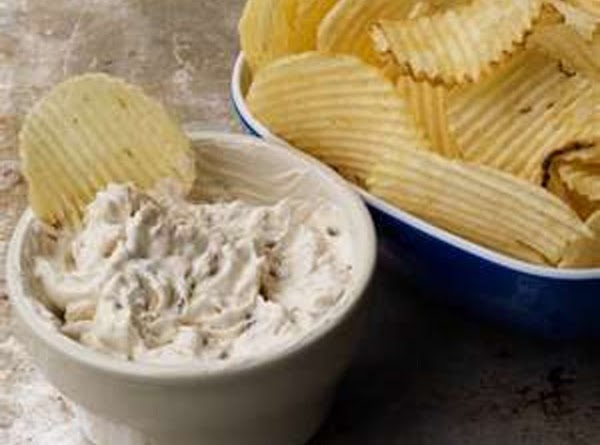 Onion dip  1 small carton sour cream and 5 tablespoons onion soup mix. Let sit...