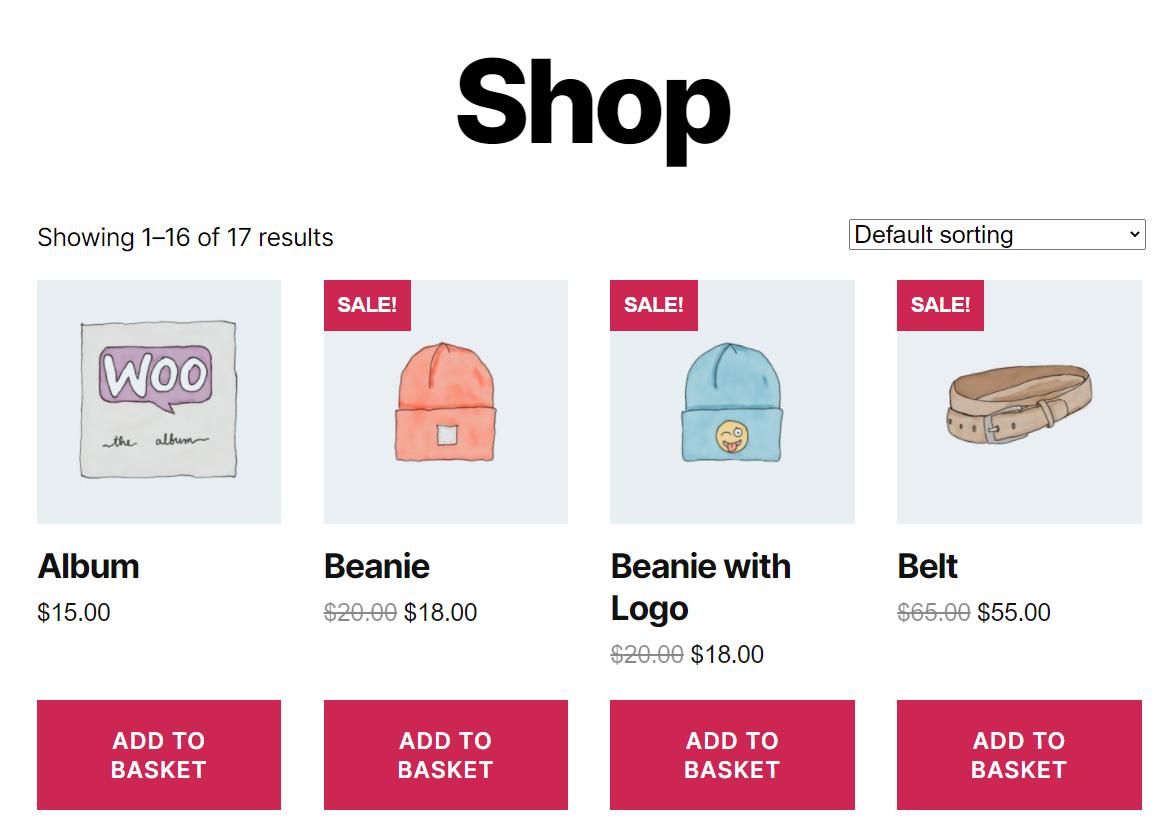 WooCommerce's default shop layout