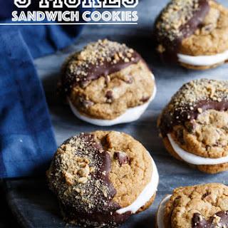 Chocolate Chip Graham Cracker S'mores Sandwich Cookies.