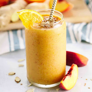Refreshing Orange Peach Ginger Smoothie.