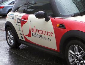 Photo: Adventure Safety Partial Vehicle Wrap Photo Gallery. #printedlogos #sponsorlogos #MINI #vehiclewrap #smallbusiness #AdventureSafety