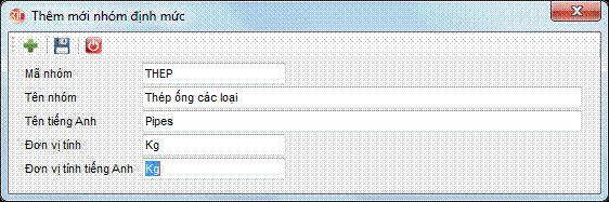Danh mục nhóm định mức phần mềm kế toán 3tsoft