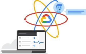 パソコンのモニターとその後ろに Google Cloud のネットワーク