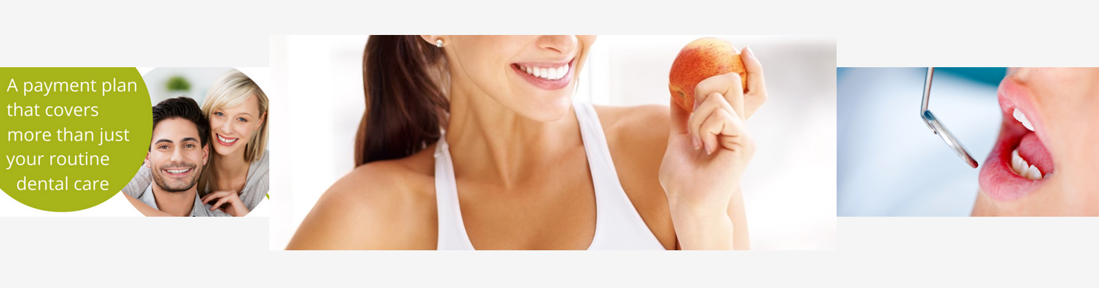 People with white teeth smiling and a lady holding an apple