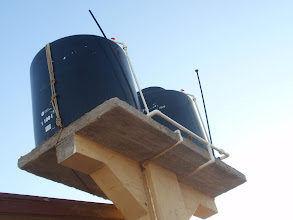 Photo: Two water tanks totaling 750 gallons filled from city water