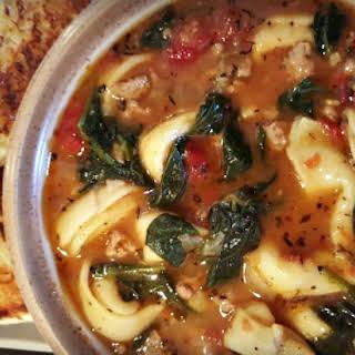 Tortellini, Spinach & Turkey Sausage Soup.