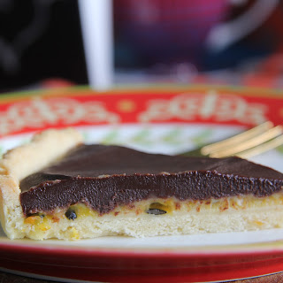 Passionfruit and Chocolate Tart.