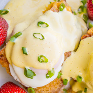 Grilled Cheese Eggs Benedict with Bacon and Hollandaise Sauce.