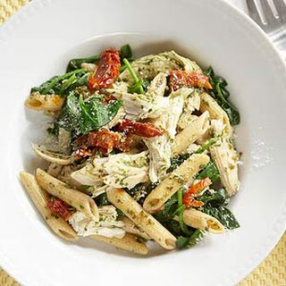 Lemon-Garlic Chicken Penne with Pesto and Spinach.