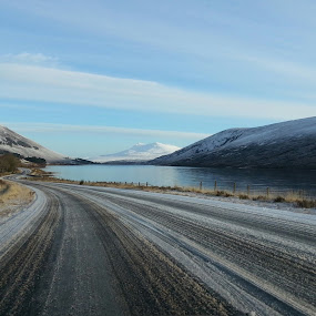 by Rachel Startin - Instagram & Mobile Android ( water, scotland, mountains, snow, lake, loch, road, landscape, highlands )