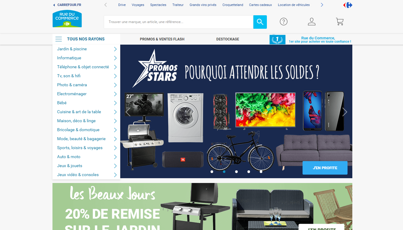 Homepage Rue du Commerce, one of the top marketplaces to sell in France