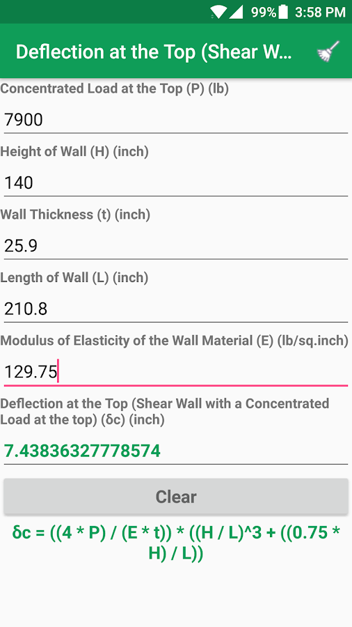 Structural Engineering Calc.- screenshot