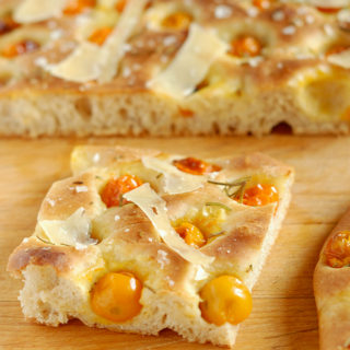 Cherry Tomato Focaccia with Rosemary & Parmesan