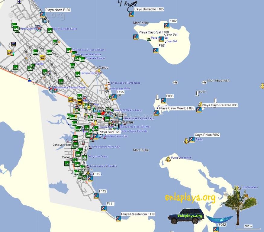 Mapa de Playas del Sector Chichiriviche