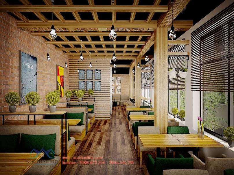 thiết kế quán cafe mộc tông màu tươi sáng