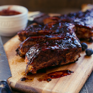 Baby Back Ribs with Blueberry Balsamic Barbecue Sauce.