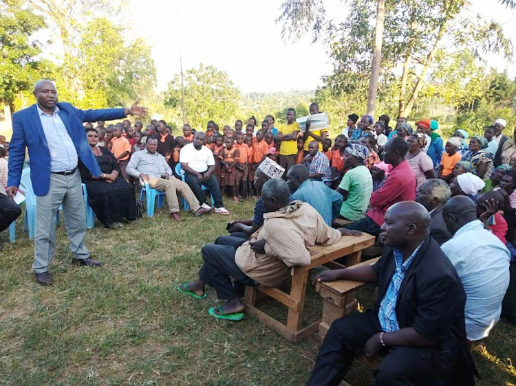 Lugari MP Ayub Savula addresses Likuyani residents on February 8.