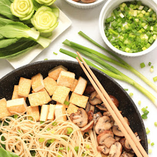 Brown Rice Noodles with Bok Choy, Mushrooms & Tofu.