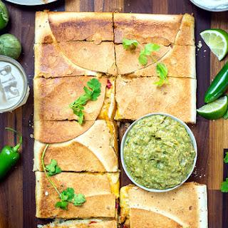 Chipotle Chicken Sheet Pan Quesadilla with Avocado Salsa Verde.