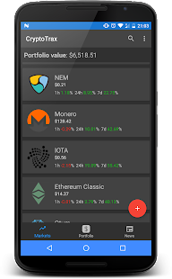 CryptoTrax - Bitcoin & Cryptocurrency Portfolio - náhled