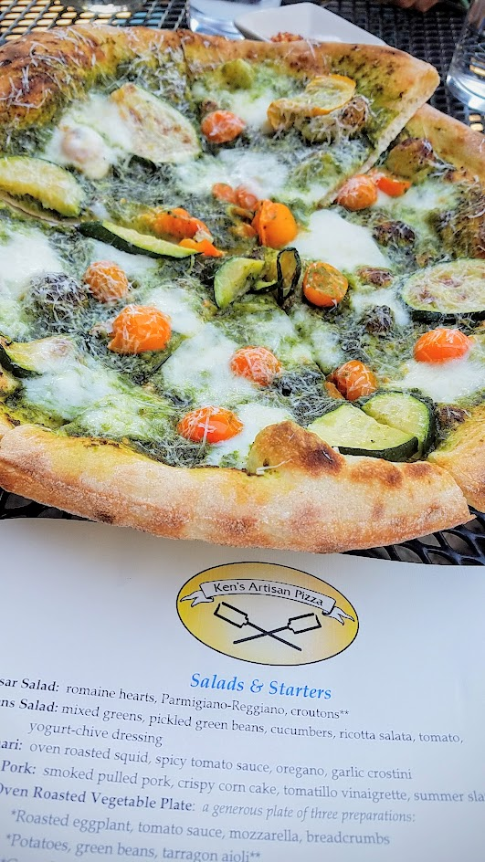 Ken's Artisan Pizza, 12 inch thin crust perfection, this one is the Summer Pesto with zucchini, cherry tomatoes, hazelnut pesto, mozzarella, pecorino romano