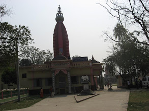 """Photo: """"Gambhira"""" Temple that replaced the original """"Parna Kutir"""" Temple where Prabhu closeted himself for almost 17 years and left His Mortal Body on September 17, 1921. The cow and calf statues and the murti (bust-sized) of Sri Mahanam brata Brahmachari in front of the Sri-Angan entrance door  are a recent upgrade"""