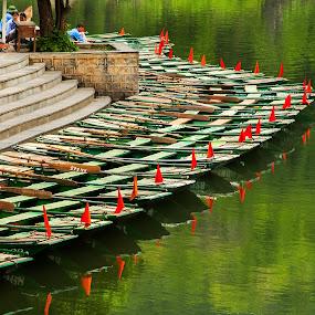 parking boats by Sorin Tanase - Transportation Boats ( water, nature, ninh bing, boats, vietnam )