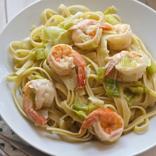 Fettuccine with Leek and Shrimp Sauce