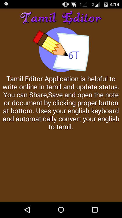 tamil editor android apps on google play. Black Bedroom Furniture Sets. Home Design Ideas
