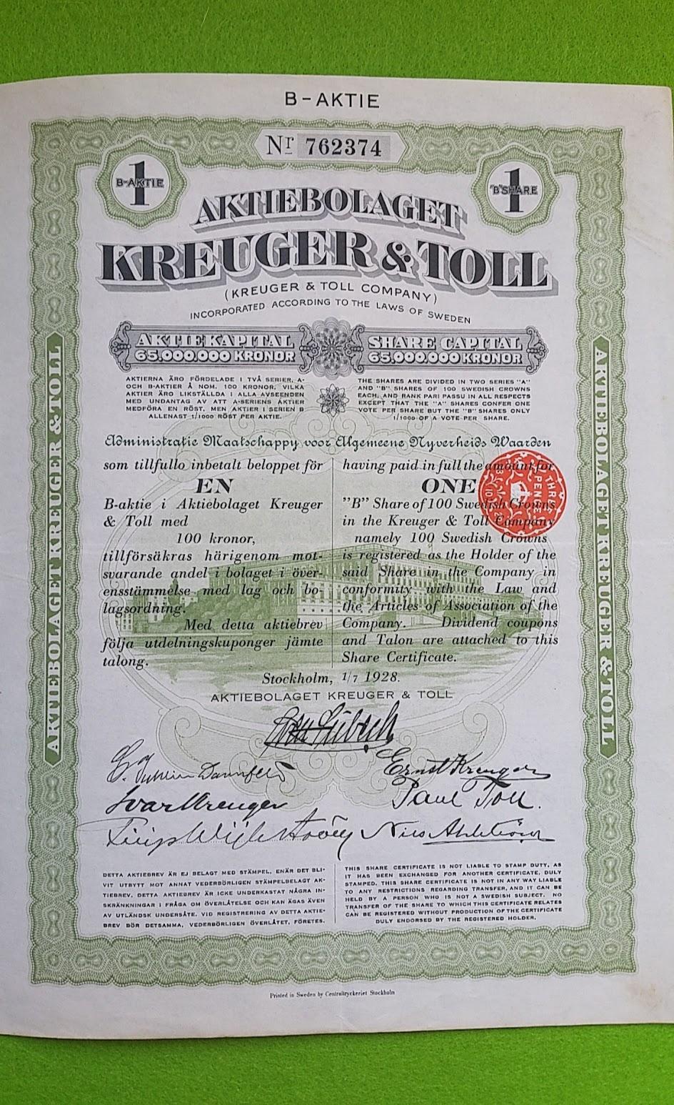 Kreuger und Toll Aktie, 1928