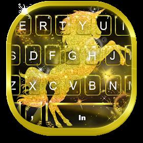 тема для клавиатуры Gold Luxury Unicorn