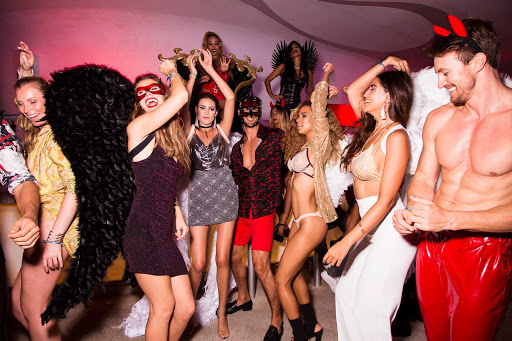 The heaven and hell party is one of the theme-night entertainment options at Temptation Cancun Resort.