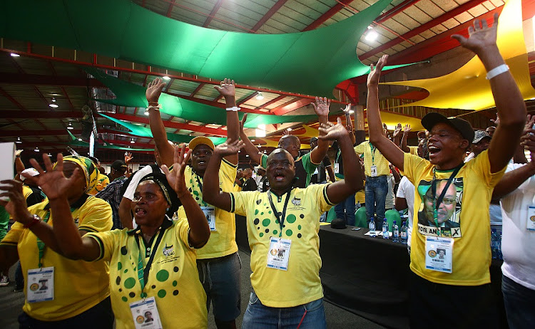 Delegates celebrate at the 54th ANC national elective conference in Johannesburg. Picture: MASI LOSI