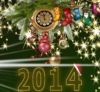Año Nuevo 2014 con adornos de navidad