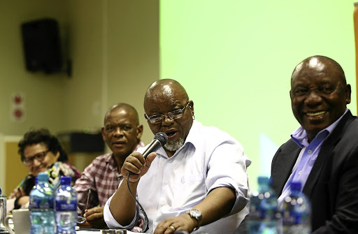 ANC chairman Gwede Mantashe jokes with the media during the ANC NEC meeting held at Saint George's Hotel in Irene, outside Pretoria, yesterday. With him are top-six members Jessie Duarte, Ace Magashule and Cyril Ramaphosa.