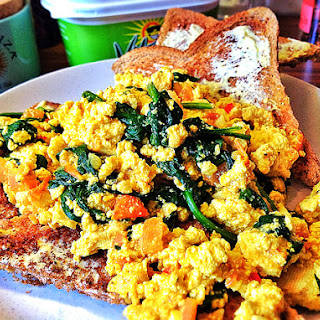 Scrambled Tofu with Tomato and Baby Spinach